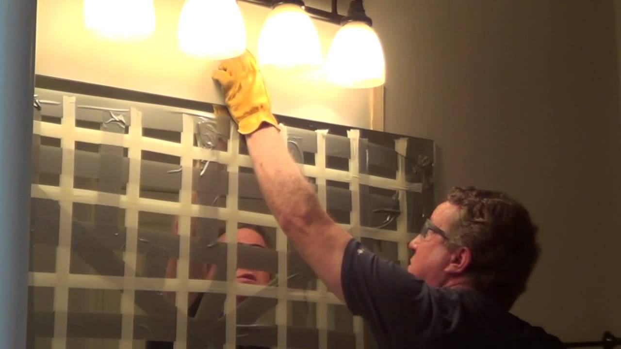 How to Remove a Glued Bathroom Mirror from the Wall - YouTube