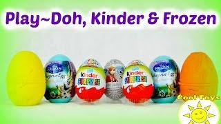 Play Doh Kinder Frozen Surprise Eggs Cars Bike Animals Cartooon SorpresaÜberraschung, Киндер Сюрприз
