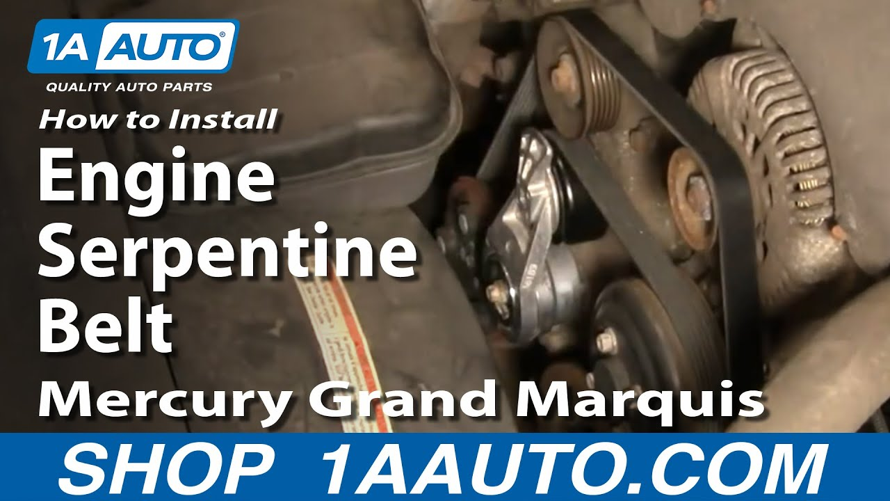 how to install replace engine serpentine belt mercury grand marquis 4 6l 00 02 1aauto com youtube [ 1920 x 1080 Pixel ]