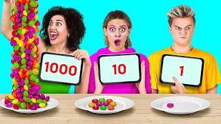 تحدي 100 طبقة من الطعام! || 100 طبقة من كل شيء