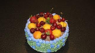 Летний торт. Торт с фруктами. Бисквитный торт рецепт. Заварной крем классический.