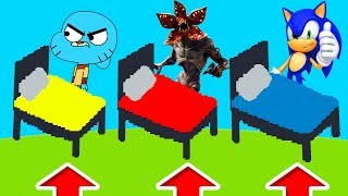 Minecraft PE : DO NOT CHOOSE THE WRONG BED! (Demogorgon, SCP-096, Sonic & Gumball)