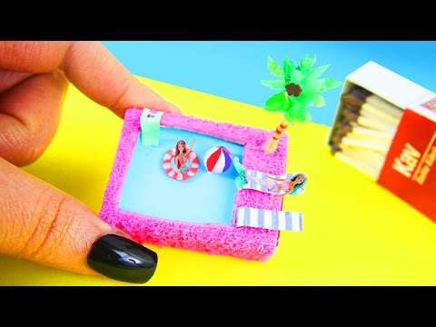 DIY Miniature Matchbox Dollhouse Pool Tutorial - simplekidscrafts