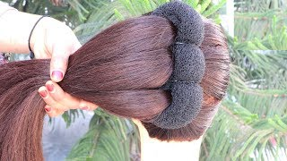 New Style Trick French Bun For Gown, Lehnga, Party || french roll hairstyle || french twist