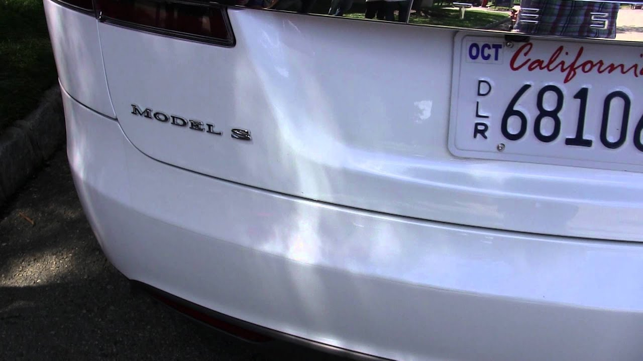 Rear of White Model S - Panel alignment - YouTube