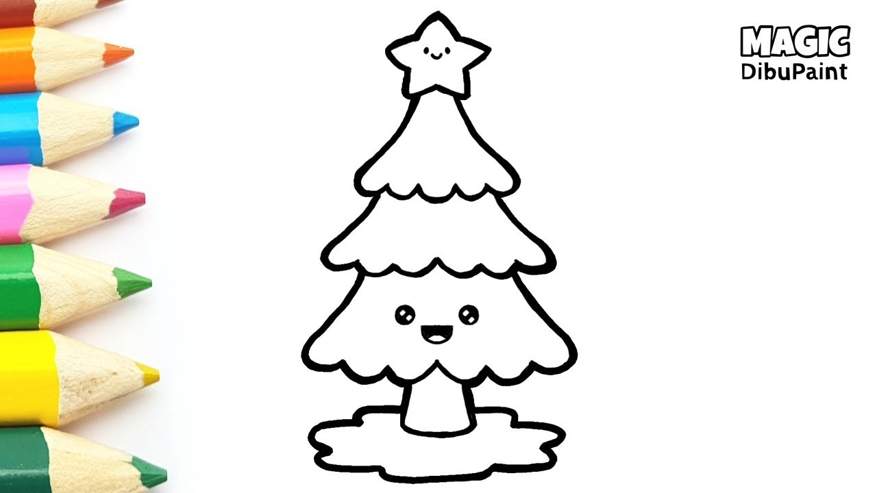 Pintar Dibujos Navideños Dibujar Y Colorear árbol De Navidad Kawaii