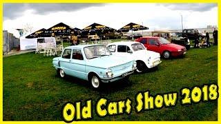 Old Cars Show 2018. Classic Soviet Cars ZAZ 968 and ZAZ 965. Old Jeep Willys MB. WW2 Jeep