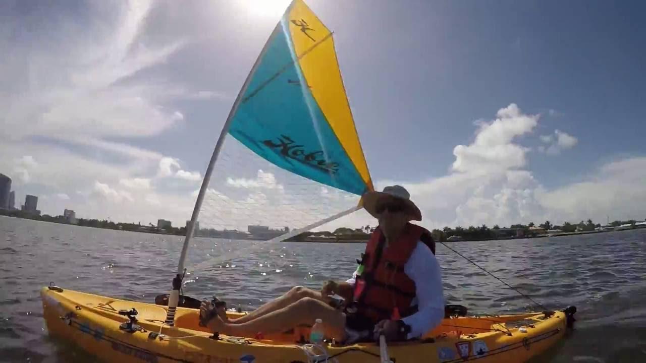 Biscayne Bay 4th of July Hobie Outback Kayak Sailing