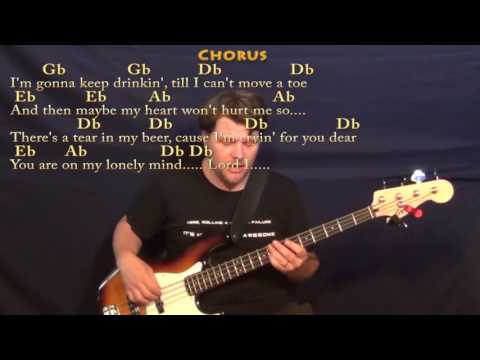 There's A Tear In My Beer (Hank Williams) Bass Guitar Cover Lesson in Db with Chords/Lyrics