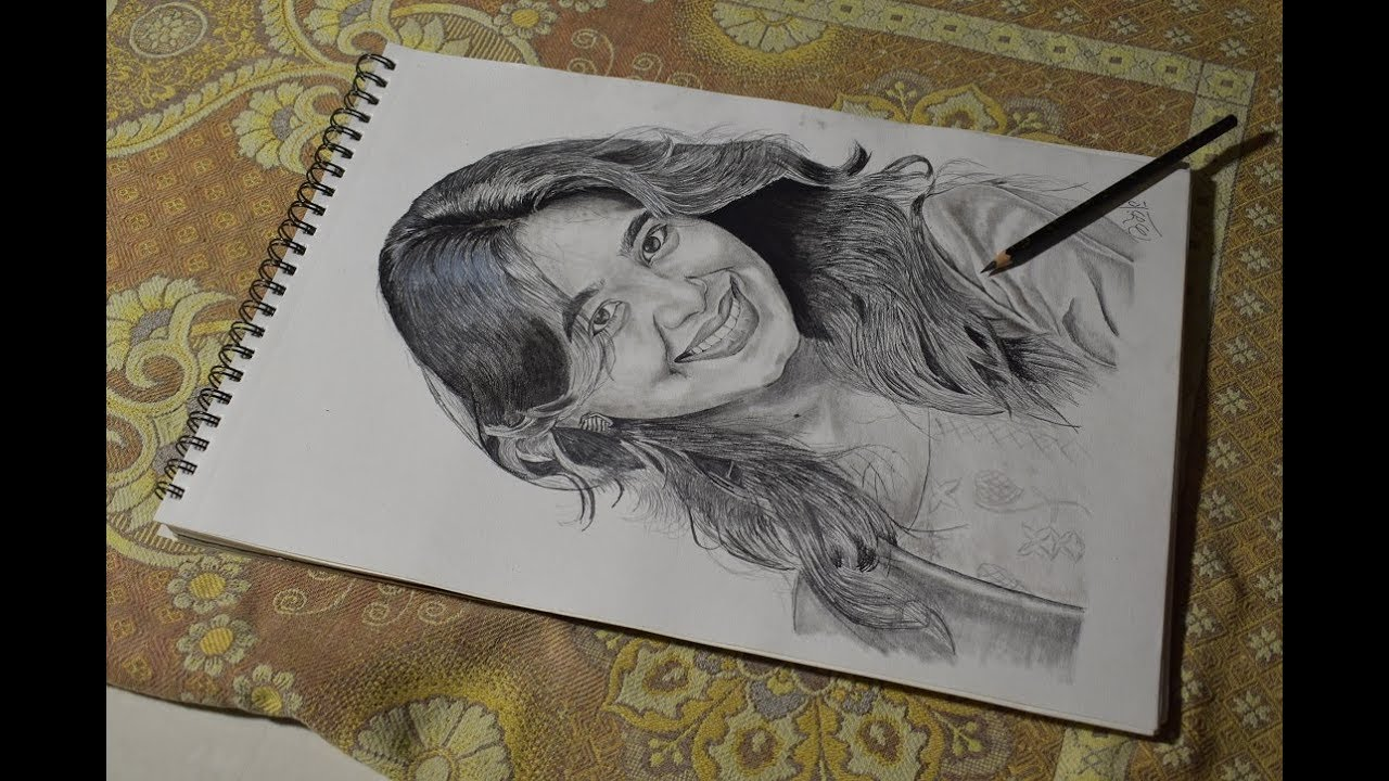 Best sketch of mrunal dusanis sketch marathi actress sketchvideo art sketchart