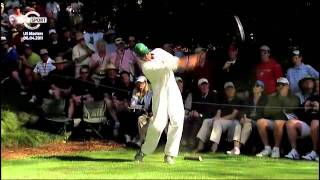 andy roddicks tee shot at augusta par 3 contest
