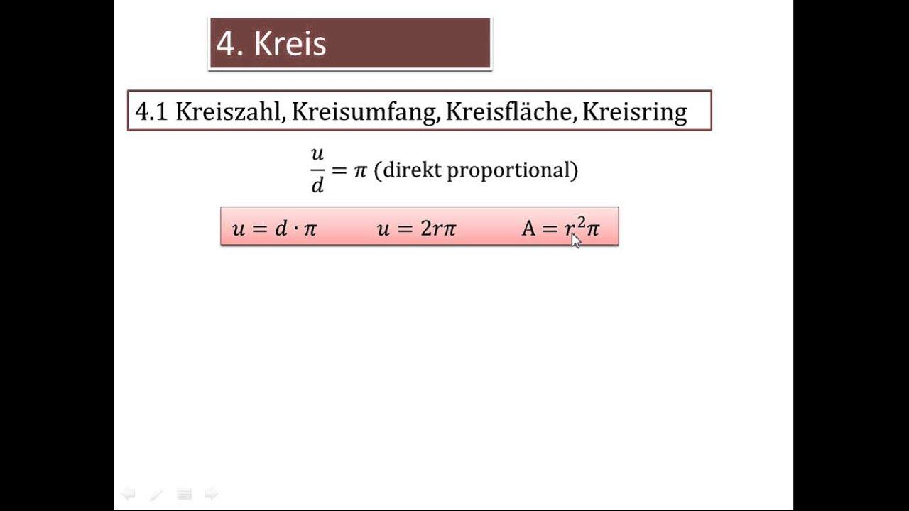 4.1 Kreiszahl, Kreisumfang, Kreisfläche, Kreisring