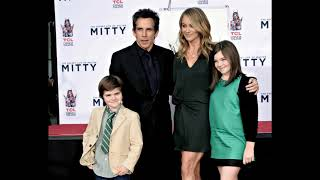 actor Ben Stiller with his wife actress christine taylor and Their son and their daughter