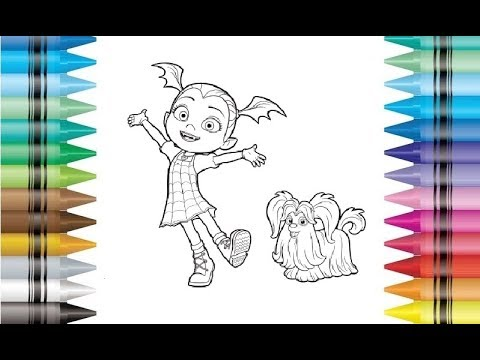 disney vampirina and wolfie coloring pages drawing for