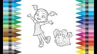 Disney Vampirina And Wolfie Coloring Pages Drawing For Kids And Children
