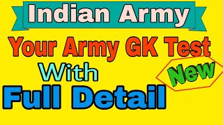 Indian Army || Your Army GK Test With Full Detail || Part - 1 || GK Solutions
