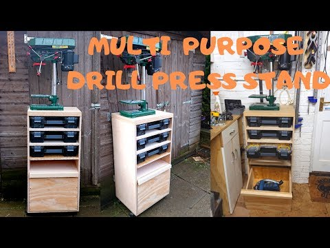 DIY Movable Drill Press Stand With Useful Storage