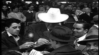 Fans welcome former ace pitcher, Dizzy Dean,  at baseball game between the St. Lo...HD Stock Footage