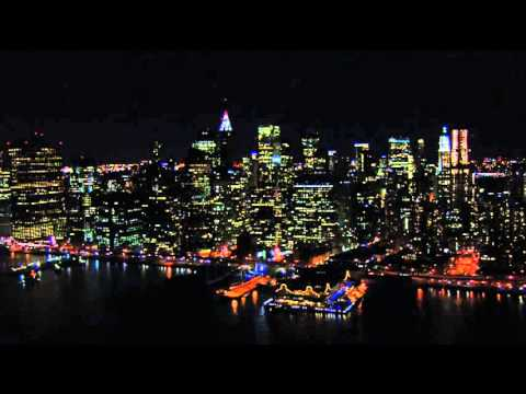 Manhattan Island Night Skyline from Aerial View and Helicopter Tour Video Footage New York City NYC