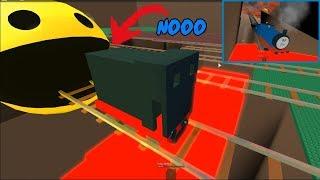 Thomas y amigos: Thomas el tren es tragado por PacMan Roblox Crash Para niños