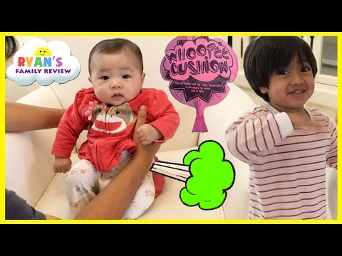 Thumbnail: Twin Babies Fart with Kids Farting Toy Prank Whoopie Cushion! Ryan's Family Playtime with baby