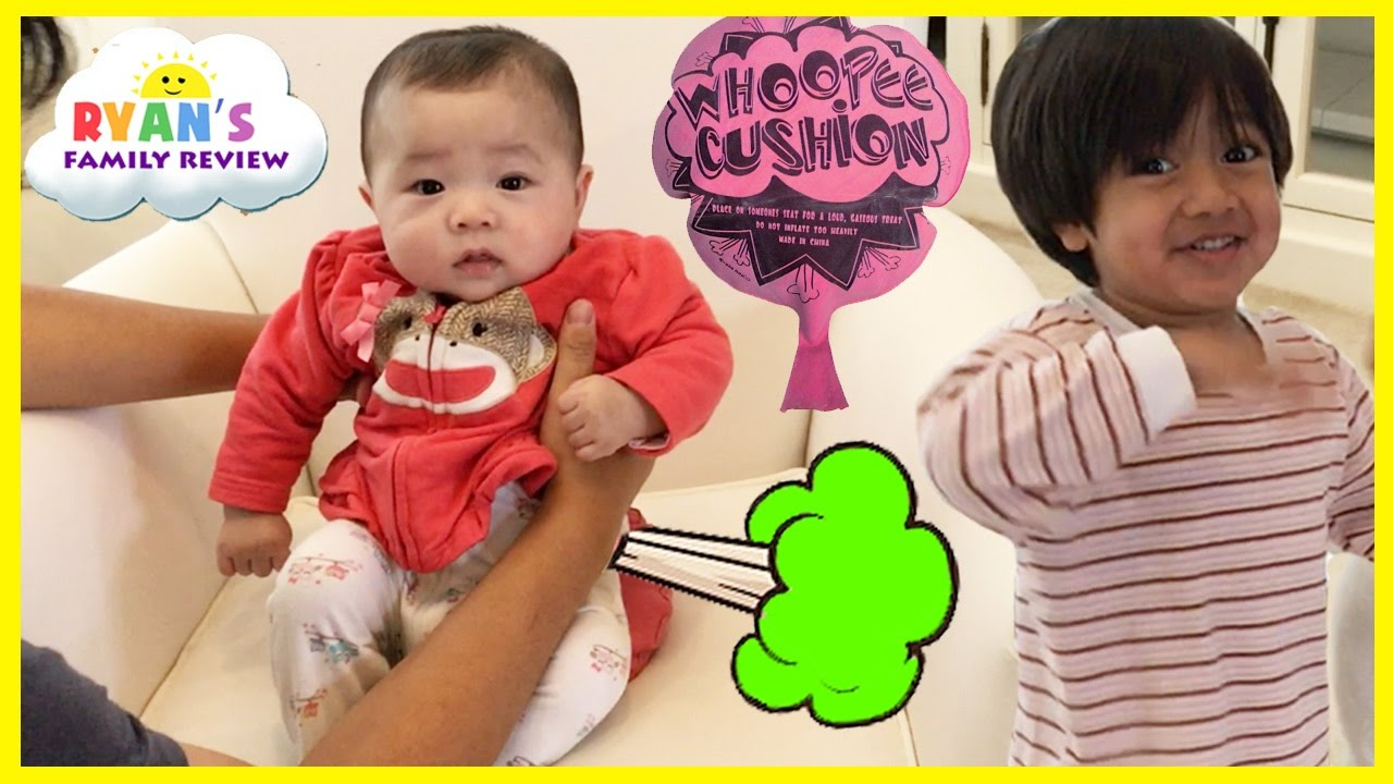 Twin Babies Fart with Kids Farting Toy Prank Whoopie Cushion! Ryan's Family Playtime with baby