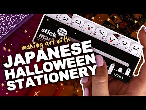 CUTE + SCARY = SPOOPY! | Making Art with Japanese Halloween Stationery | ZenPop Unboxing