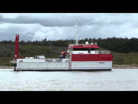 "34 Metre 170 tonne Catamaran ""Offshore Guardian"" - Post Launch - Maiden Voyage - Foxton, New Zealand"