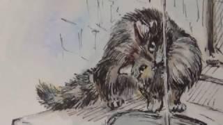 """""""Ю-ю"""" кошка пьет из крана. Иллюстрация к рассказу Куприна."""