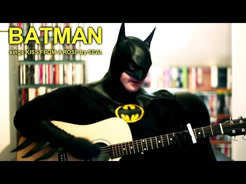 BATMAN (1989 style) sings KISS FROM A ROSE by SEAL with Acoustic Guitar live