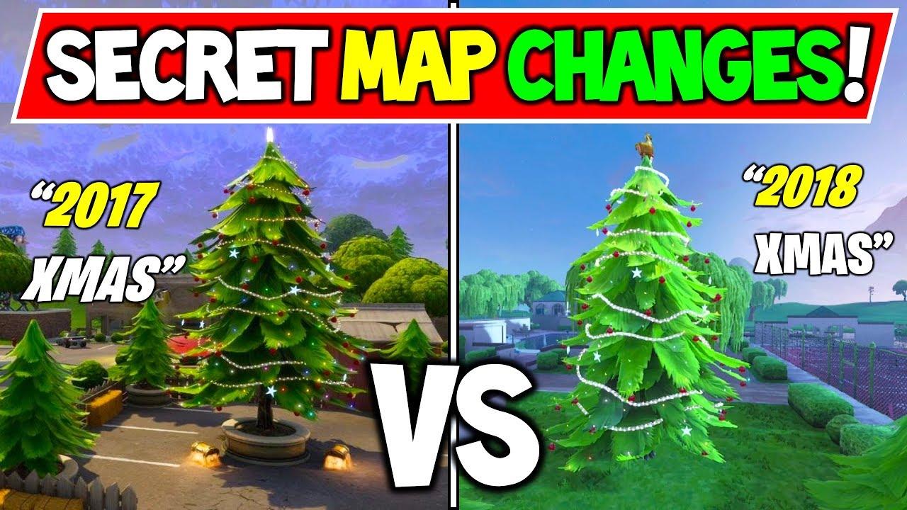 Fortnite Christmas 2017 Vs 2018 Secret Map Changes History Of