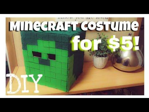 Diy Halloween Costume Minecraft Zombie Head Under 5 Youtube