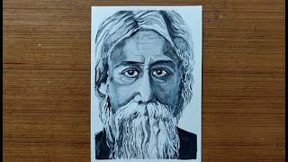 Portrait Painting of Gurudev Rabindranath Tagore | with Acrylic Black & White paints
