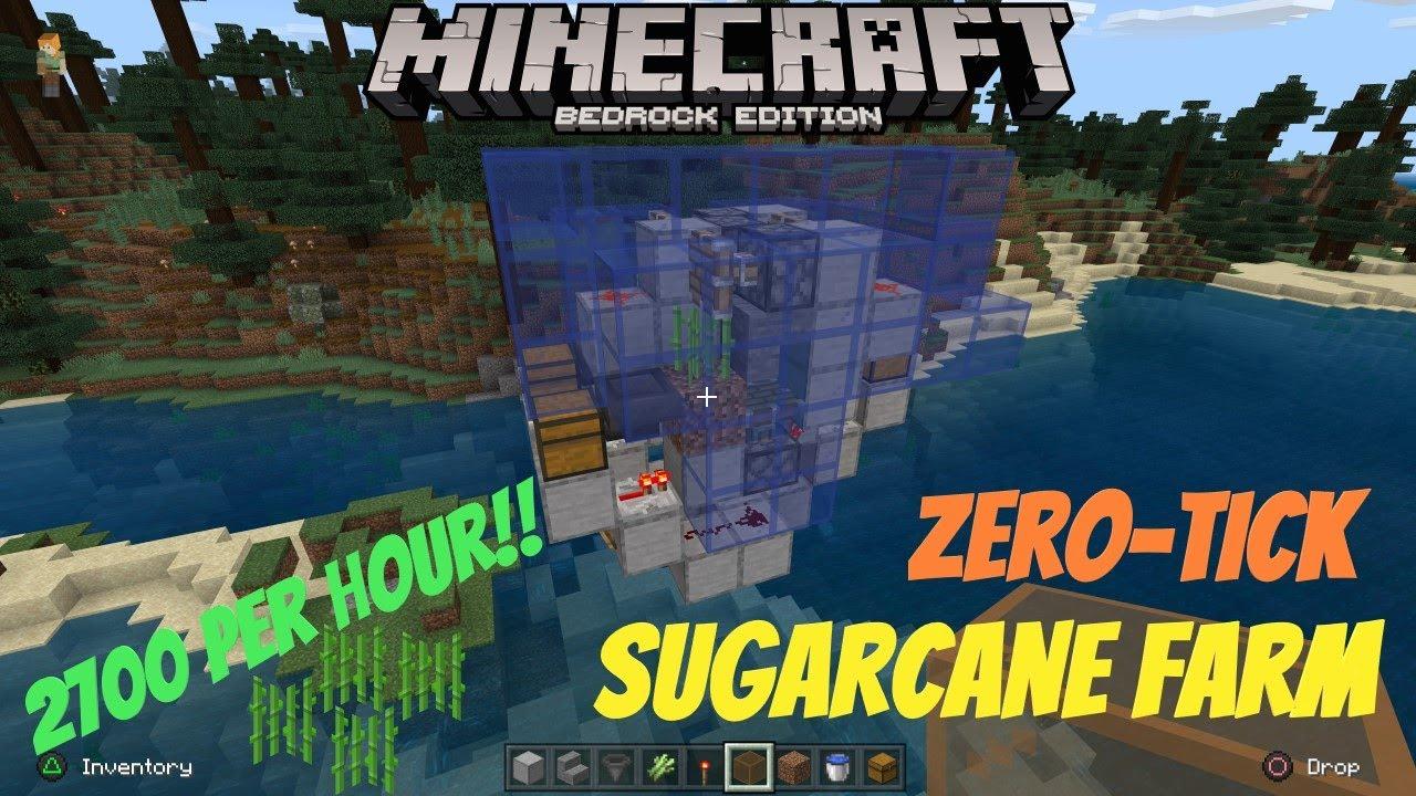 Minecraft Bedrock - Best Zero Tick Sugarcane Farm Tutorial - Fast Sugarcane  - Works On 8.8, 8.84