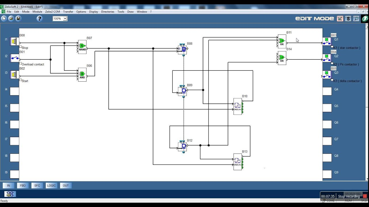 zelio logic video tutorial 7 sfc blocks 2 start delta motor rh youtube com Allen Bradley plc Wiring-Diagram plc Wiring Basics