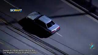 Police are pursuing a stolen car suspect in the San Fernando Valley
