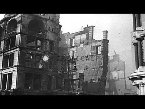 Scenes of the Battle of Britain. London Blitz. King George VI;Queen Elizabeth; Pr...HD Stock Footage