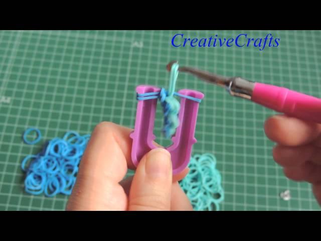 como hacer una pulsera cadena de nudos con gomitas SIN TELAR. Rainbow Loom bracelet..