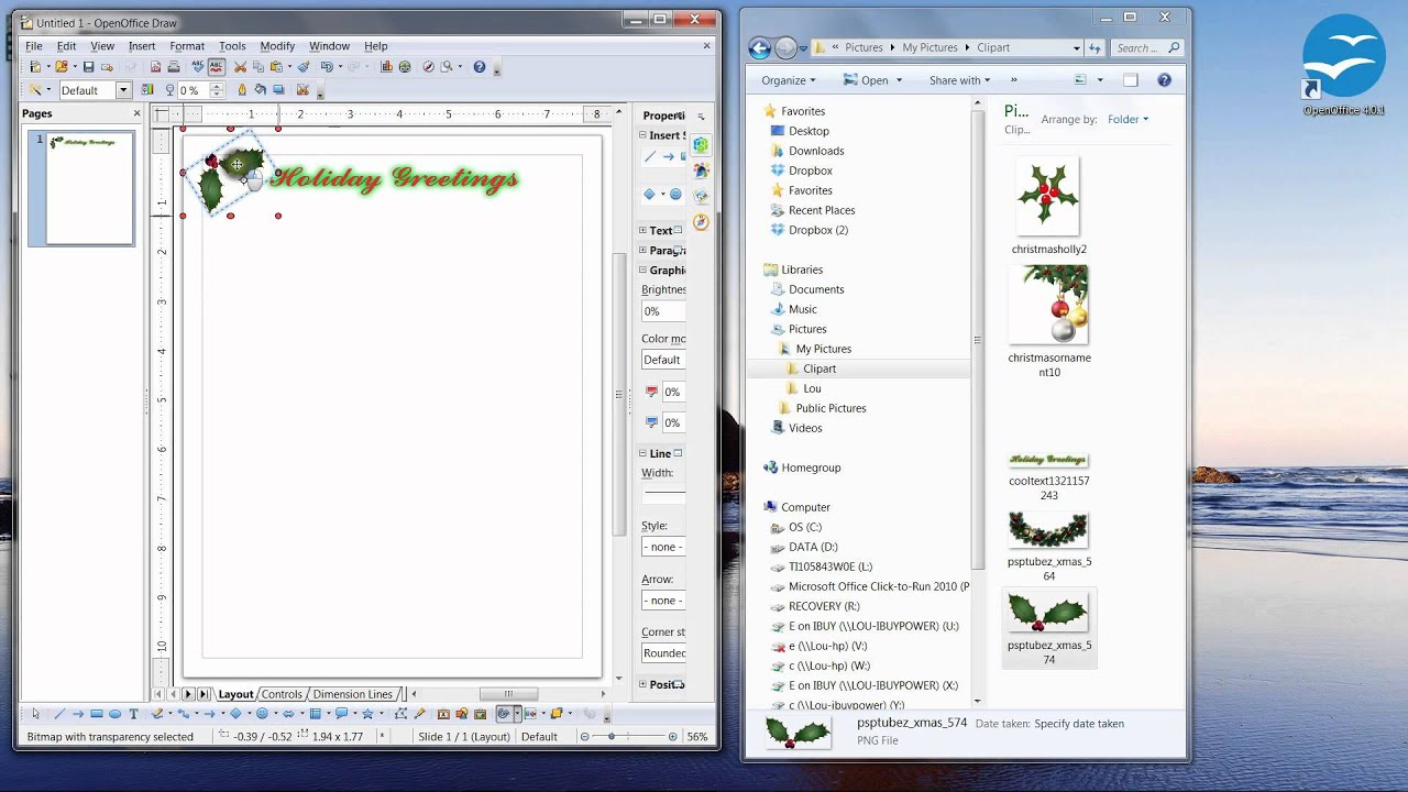 How to make Holiday / Christmas stationery with Open Office 4.0.1 ...