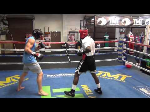 Luke Rockhold boxing sparring inside the Mayweather Boxing Club