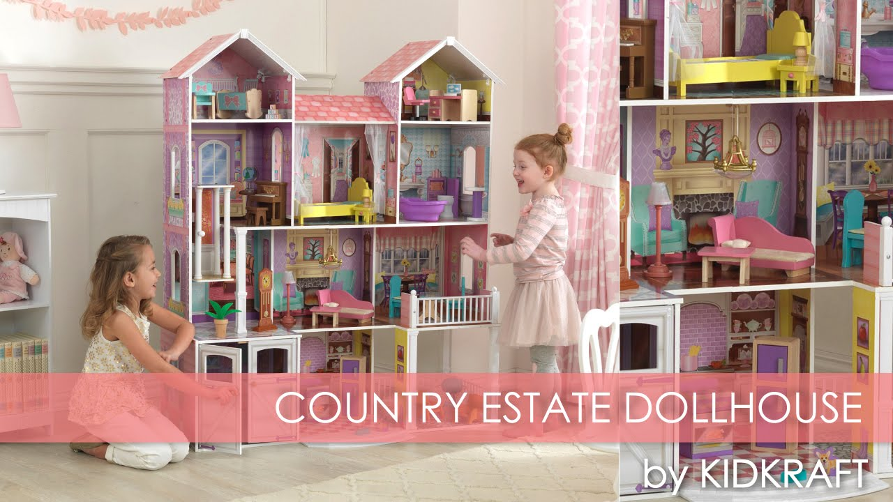 wooden barbie doll house furniture. Children\u0027s Pink Country Estate Dollhouse For Barbie - Toy Review. KidKraft Wooden Doll House Furniture