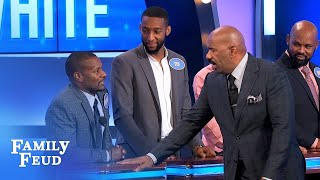 Steve gives Robert some ROOM   Family Feud