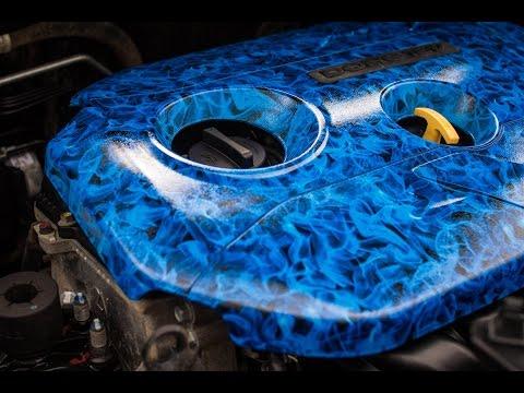видео: Видео из бокса № 9 0  Аквапринт, Аквапечать Автомобильных крышек двигателя  Пламя  indigo style.