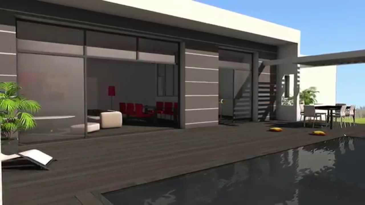 maison contemporaine mix de b ton blanc bois composite albi youtube. Black Bedroom Furniture Sets. Home Design Ideas