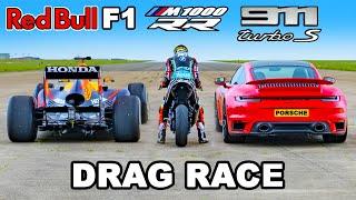 F1 Car v BMW M1000 RR Superbike v 911 Turbo S: DRAG RACE
