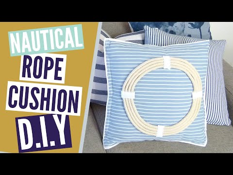 Nautical Hamptons Style Rope Cushion DIY // Throw Pillow DIY!