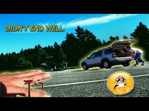 PULLED BY A CAR ON A LONGBOARD! *30MPH ALMOST RAN OVER!*