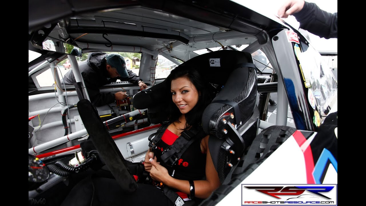 Tony Stewart Helps Model With Huge Tits Into His Race Car -5464