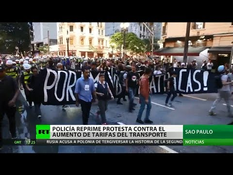 Reprimieron una manifestación en San Pablo contra el aumento del  transporte