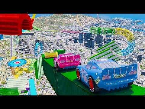 Disney Cars 3 Fabulous McQueen Stunt Jump Cruz Ramirez Colors Jackson Storm Mater Mack Truck Dinoco